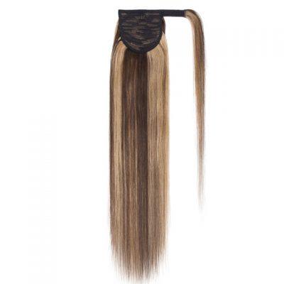 Dark foiled blonde ponytail hair extension